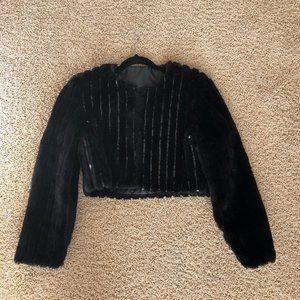 Vintage Faux Fur Cropped Black Jacket with Sequins